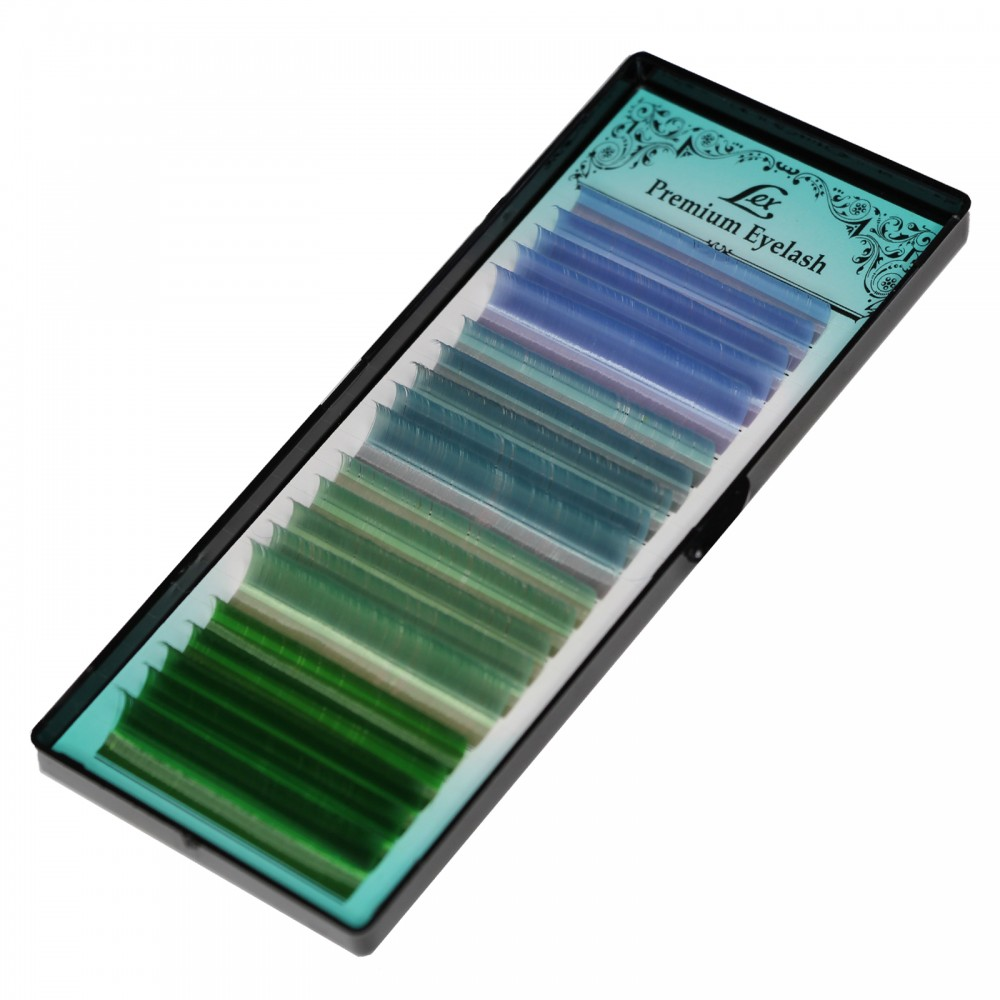 Ресницы LEX 4 COLOR (s-blue; o-blue; b-green; green) 20 lines 0.07 CC 7-8-9-10-11-12 mm