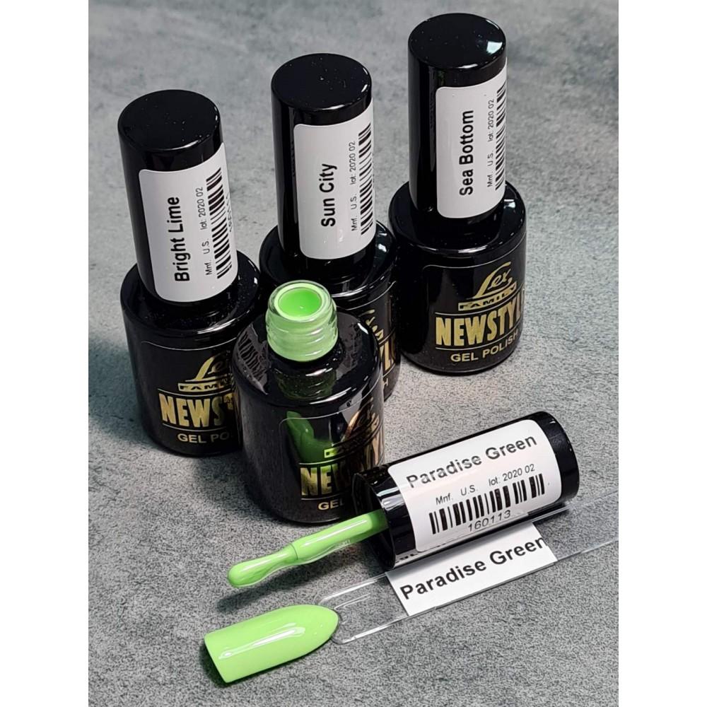 LEX NEW STYLE Paradise Green - гель лак сверхплотной пигментации, 8ml