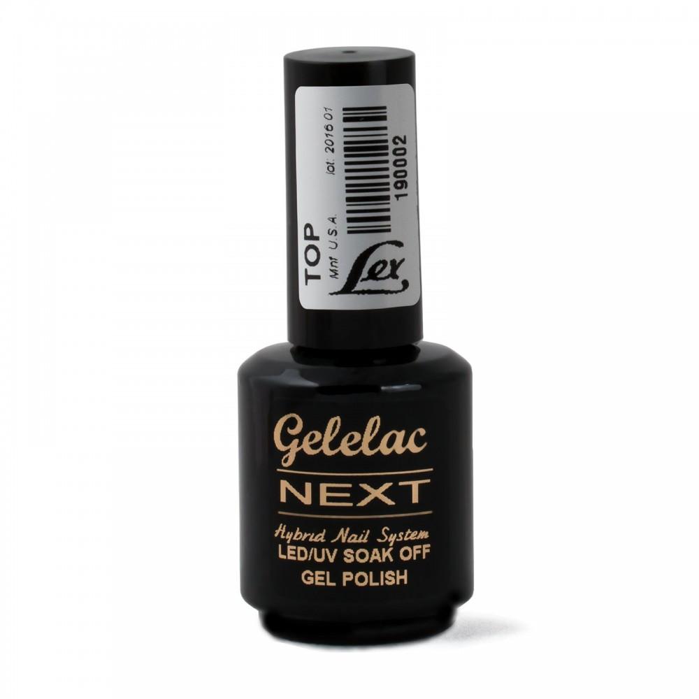 LEX Gelelac NEXT Top -  верхнее покрытие для гель-лака с остаточной липкостью, 15ml